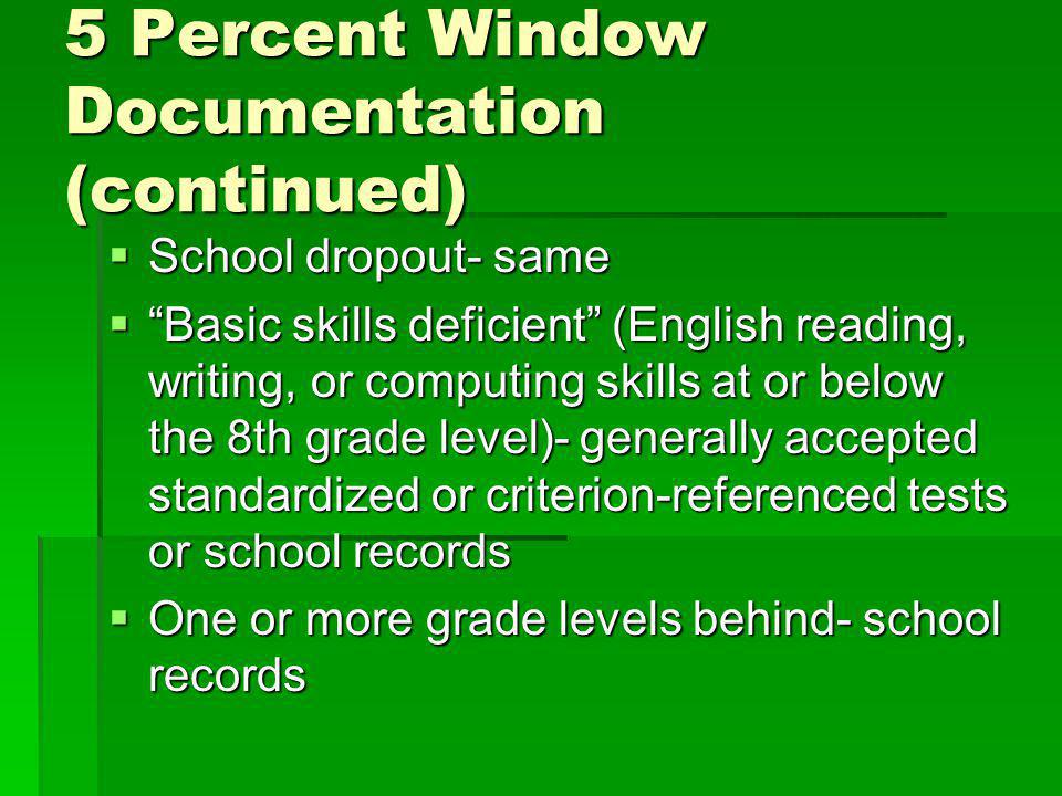 5 Percent Window Documentation (continued) School dropout- same School dropout- same Basic skills deficient (English reading, writing, or computing skills at or below the 8th grade level)- generally accepted standardized or criterion-referenced tests or school records Basic skills deficient (English reading, writing, or computing skills at or below the 8th grade level)- generally accepted standardized or criterion-referenced tests or school records One or more grade levels behind- school records One or more grade levels behind- school records