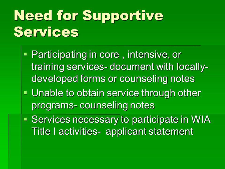 Need for Supportive Services Participating in core, intensive, or training services- document with locally- developed forms or counseling notes Participating in core, intensive, or training services- document with locally- developed forms or counseling notes Unable to obtain service through other programs- counseling notes Unable to obtain service through other programs- counseling notes Services necessary to participate in WIA Title I activities- applicant statement Services necessary to participate in WIA Title I activities- applicant statement
