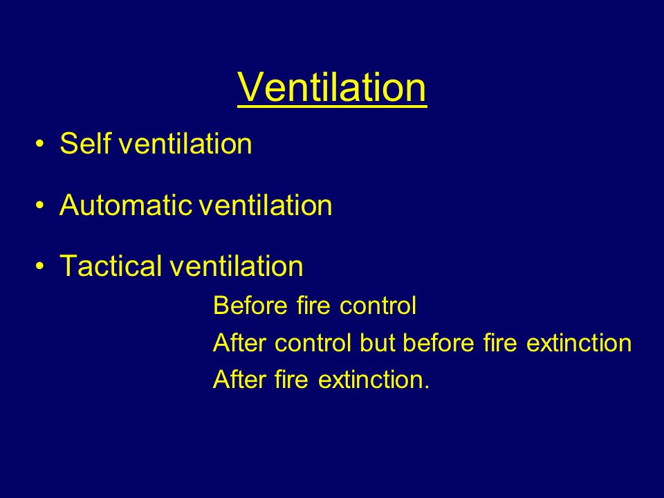 Ventilation Self ventilation Automatic ventilation Tactical ventilation Before fire control After control but before fire extinction After fire extinction.
