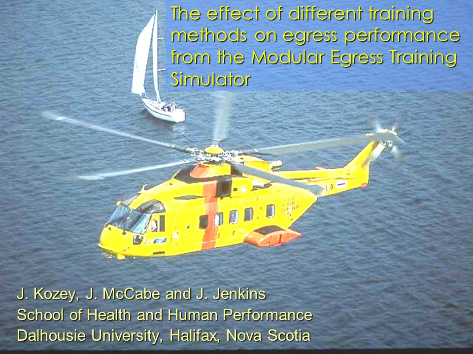 J. Kozey, J. McCabe and J. Jenkins School of Health and Human Performance Dalhousie University, Halifax, Nova Scotia The effect of different training