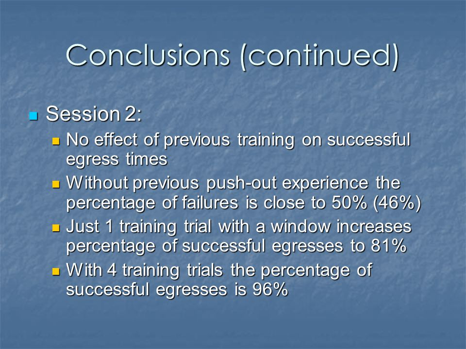 Conclusions (continued) Session 2: Session 2: No effect of previous training on successful egress times No effect of previous training on successful egress times Without previous push-out experience the percentage of failures is close to 50% (46%) Without previous push-out experience the percentage of failures is close to 50% (46%) Just 1 training trial with a window increases percentage of successful egresses to 81% Just 1 training trial with a window increases percentage of successful egresses to 81% With 4 training trials the percentage of successful egresses is 96% With 4 training trials the percentage of successful egresses is 96%