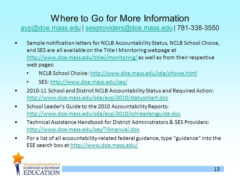 13 Where to Go for More Information ayp@doe.mass.edu | sesproviders@doe.mass.edu | 781-338-3550 ayp@doe.mass.edusesproviders@doe.mass.edu Sample notification letters for NCLB Accountability Status, NCLB School Choice, and SES are all available on the Title I Monitoring webpage at http://www.doe.mass.edu/titlei/monitoring/ as well as from their respective web pages: http://www.doe.mass.edu/titlei/monitoring/ NCLB School Choice: http://www.doe.mass.edu/sda/choice.htmlhttp://www.doe.mass.edu/sda/choice.html SES: http://www.doe.mass.edu/ses/http://www.doe.mass.edu/ses/ 2010-11 School and District NCLB Accountability Status and Required Action: http://www.doe.mass.edu/sda/ayp/2010/statuschart.doc http://www.doe.mass.edu/sda/ayp/2010/statuschart.doc School Leader s Guide to the 2010 Accountability Reports: http://www.doe.mass.edu/sda/ayp/2010/schleadersguide.doc http://www.doe.mass.edu/sda/ayp/2010/schleadersguide.doc Technical Assistance Handbook for District Administrators & SES Providers: http://www.doe.mass.edu/ses/TAmanual.doc http://www.doe.mass.edu/ses/TAmanual.doc For a list of all accountability-related federal guidance, type guidance into the ESE search box at http://www.doe.mass.edu/http://www.doe.mass.edu/