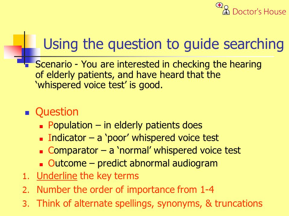 Scenario - You are interested in checking the hearing of elderly patients, and have heard that the whispered voice test is good.