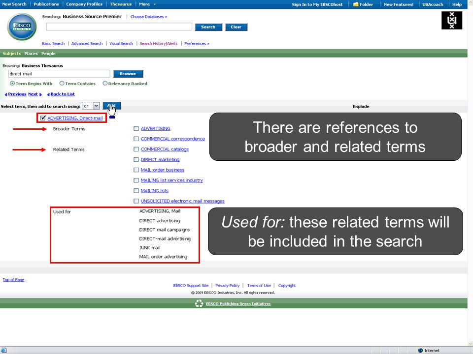 There are references to broader and related terms Used for: these related terms will be included in the search