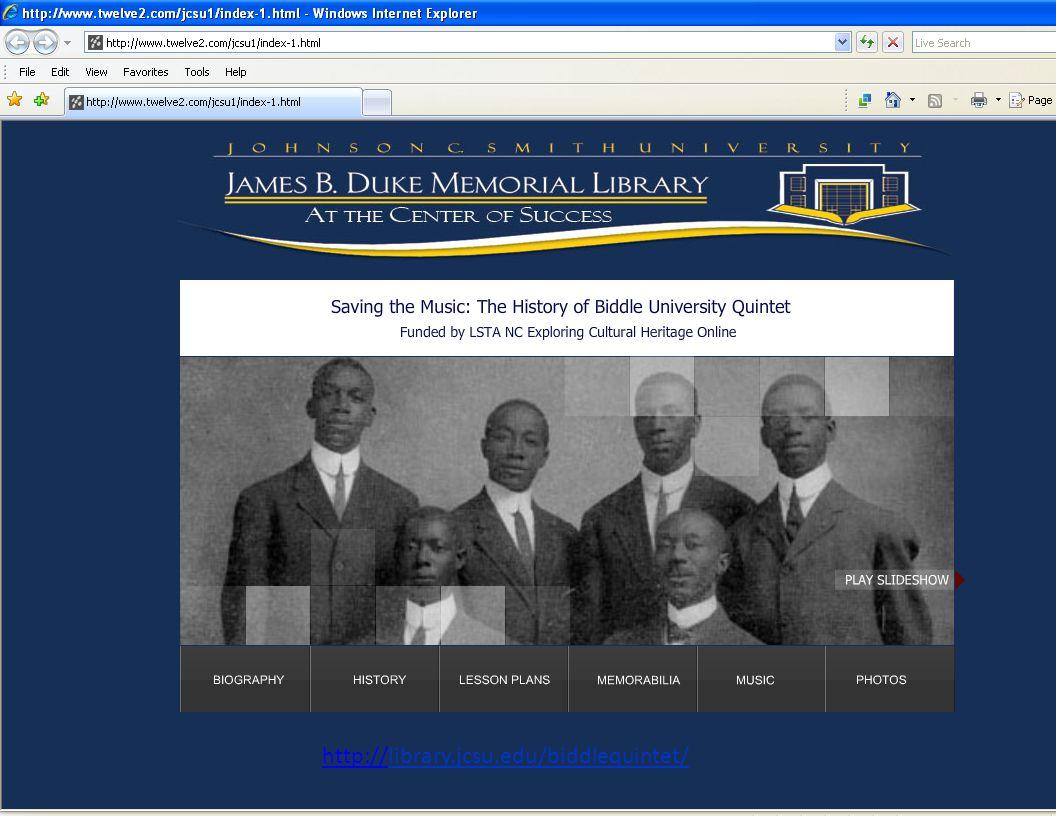 http://library.jcsu.edu/biddlequintet/