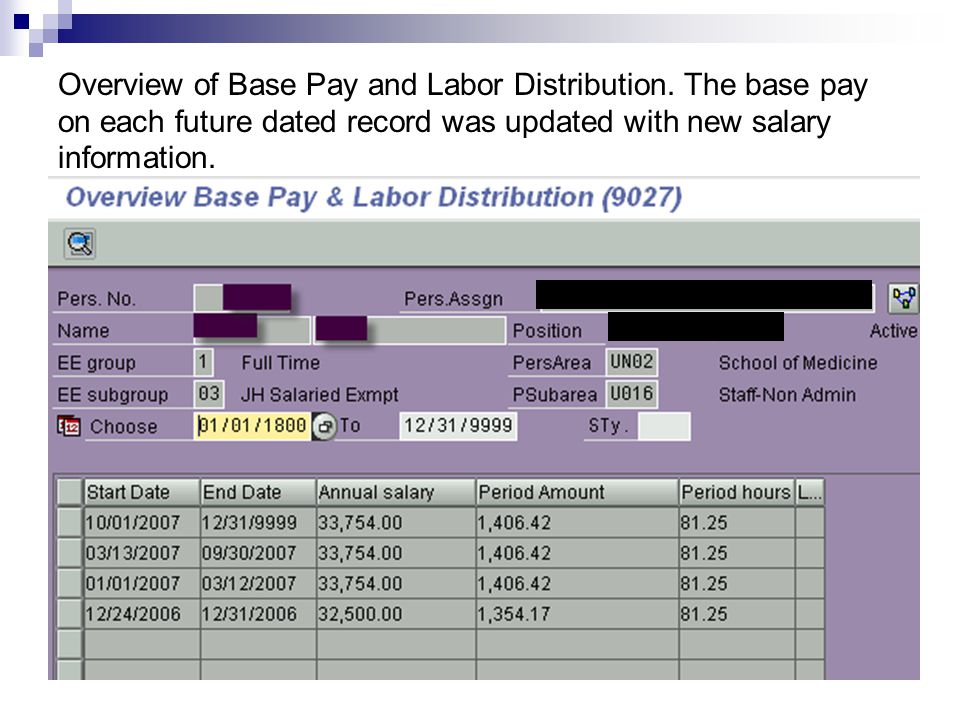 Overview of Base Pay and Labor Distribution.