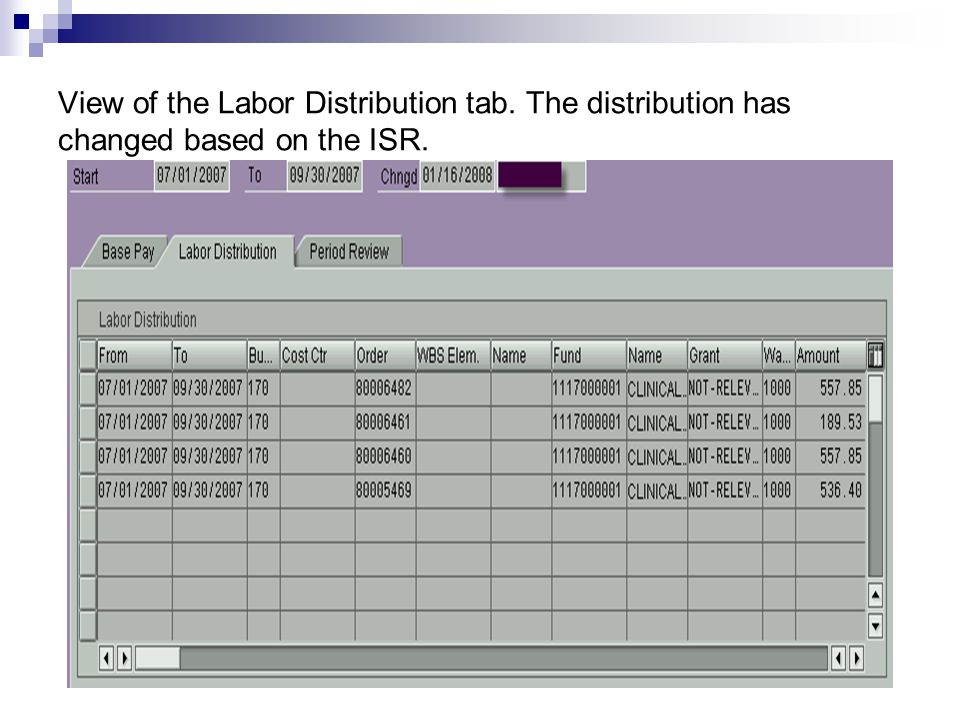 View of the Labor Distribution tab. The distribution has changed based on the ISR.