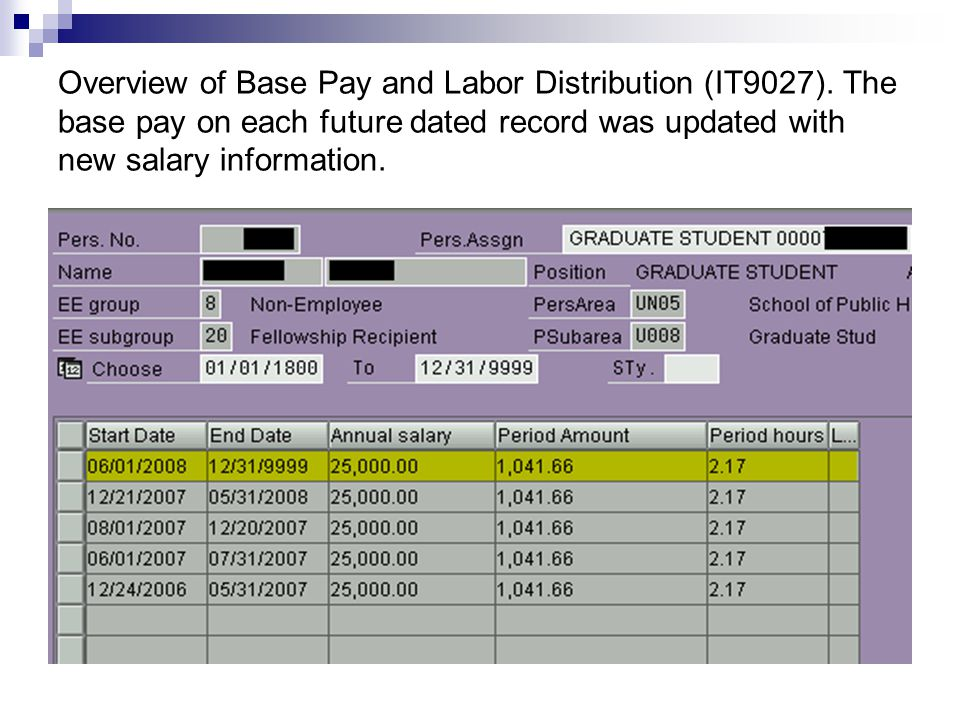 Overview of Base Pay and Labor Distribution (IT9027).