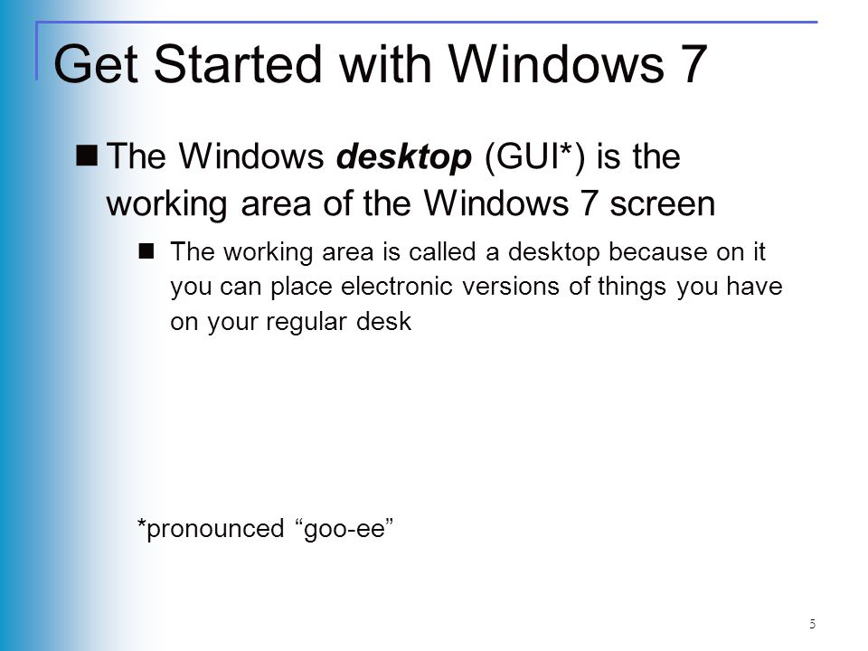 5 Get Started with Windows 7 The Windows desktop (GUI*) is the working area of the Windows 7 screen The working area is called a desktop because on it