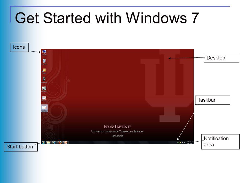 Get Started with Windows 7 Icons Taskbar Desktop Notification area Start button