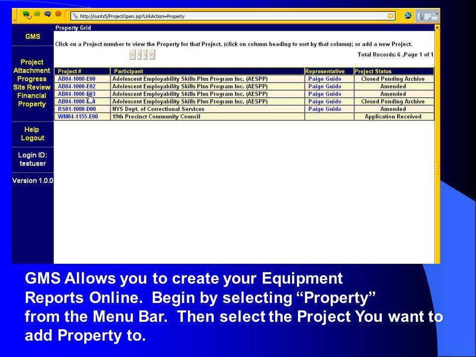 GMS Allows you to create your Equipment Reports Online.