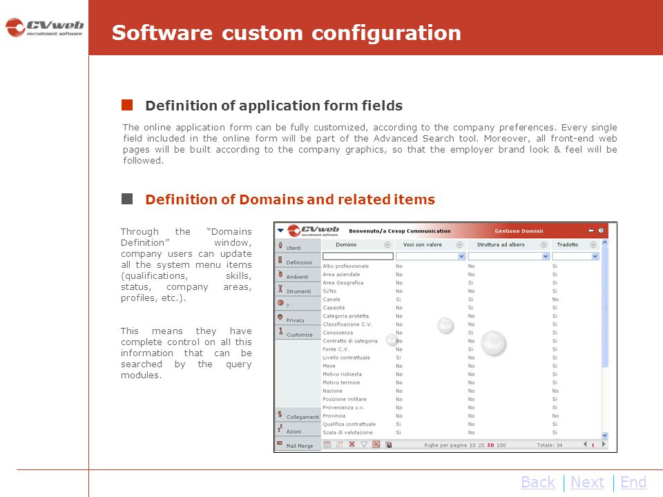 NextEnd Software custom configuration Definition of application form fields The online application form can be fully customized, according to the comp