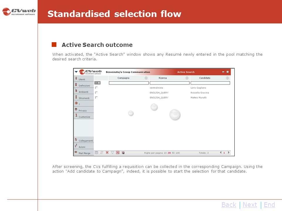 BackNextEnd When activated, the Active Search window shows any Resumé newly entered in the pool matching the desired search criteria. After screening,