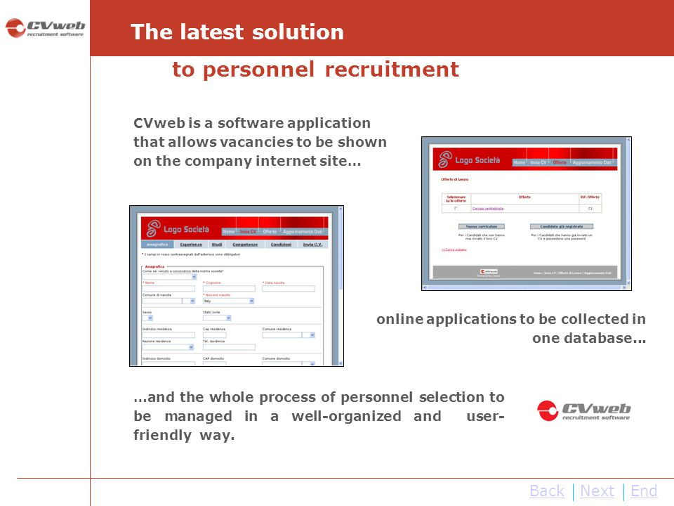 CVweb is a software application that allows vacancies to be shown on the company internet site… The latest solution online applications to be collecte