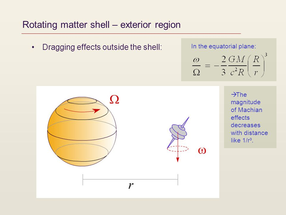 Rotating matter shell – exterior region Dragging effects outside the shell: The magnitude of Machian effects decreases with distance like 1/r³. In the