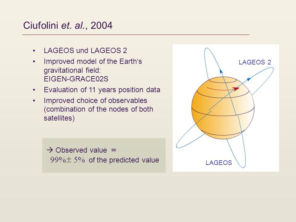 Ciufolini et. al., 2004 LAGEOS und LAGEOS 2 Improved model of the Earths gravitational field: EIGEN-GRACE02S Evaluation of 11 years position data Impr