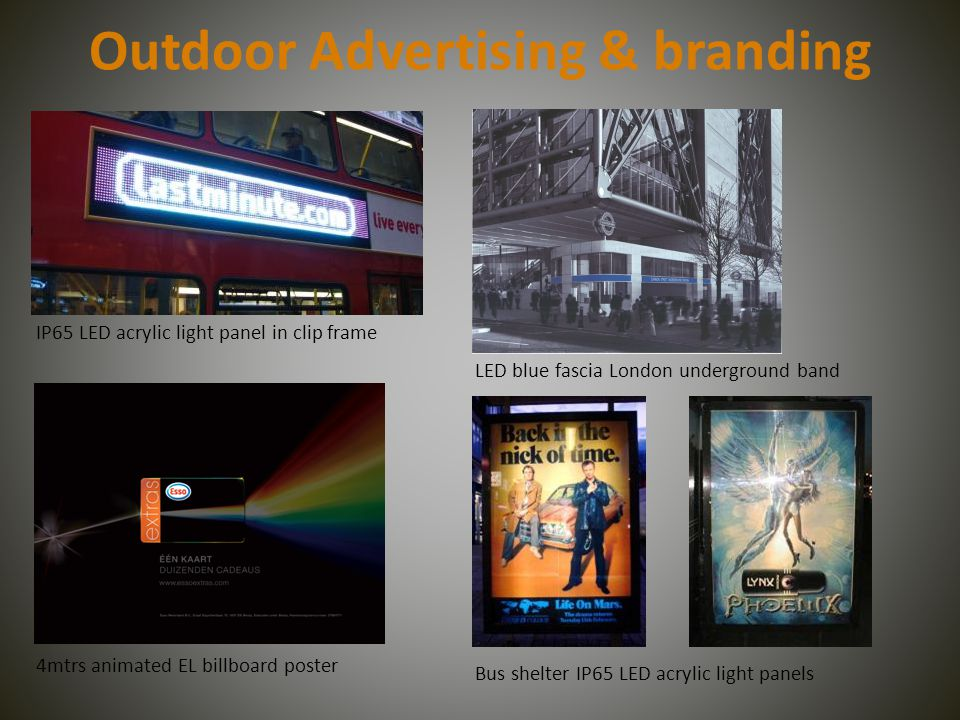 Outdoor Advertising & branding IP65 LED acrylic light panel in clip frame 4mtrs animated EL billboard poster LED blue fascia London underground band Bus shelter IP65 LED acrylic light panels