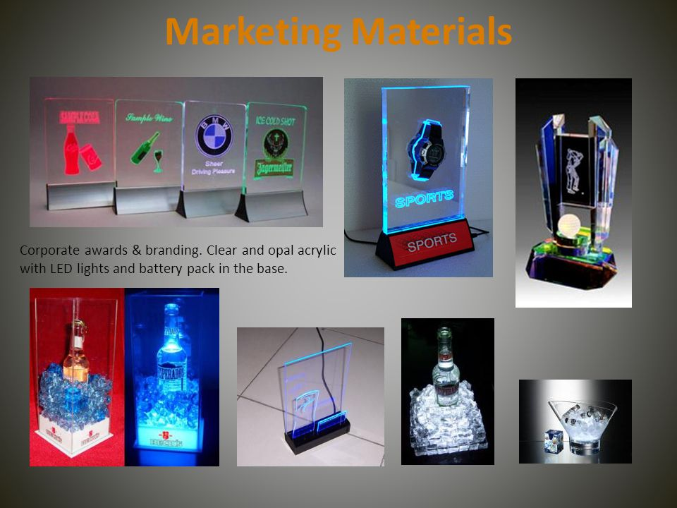 Marketing Materials Corporate awards & branding.