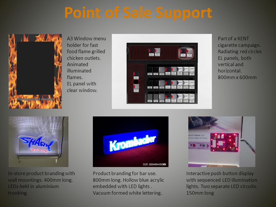 Point of Sale Support A3 Window menu holder for fast food flame grilled chicken outlets. Animated illuminated flames. EL panel with clear window. Part