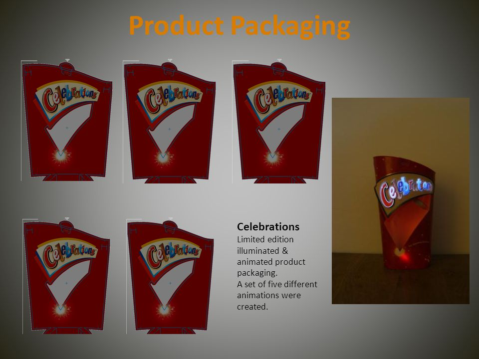 Product Packaging Celebrations Limited edition illuminated & animated product packaging.
