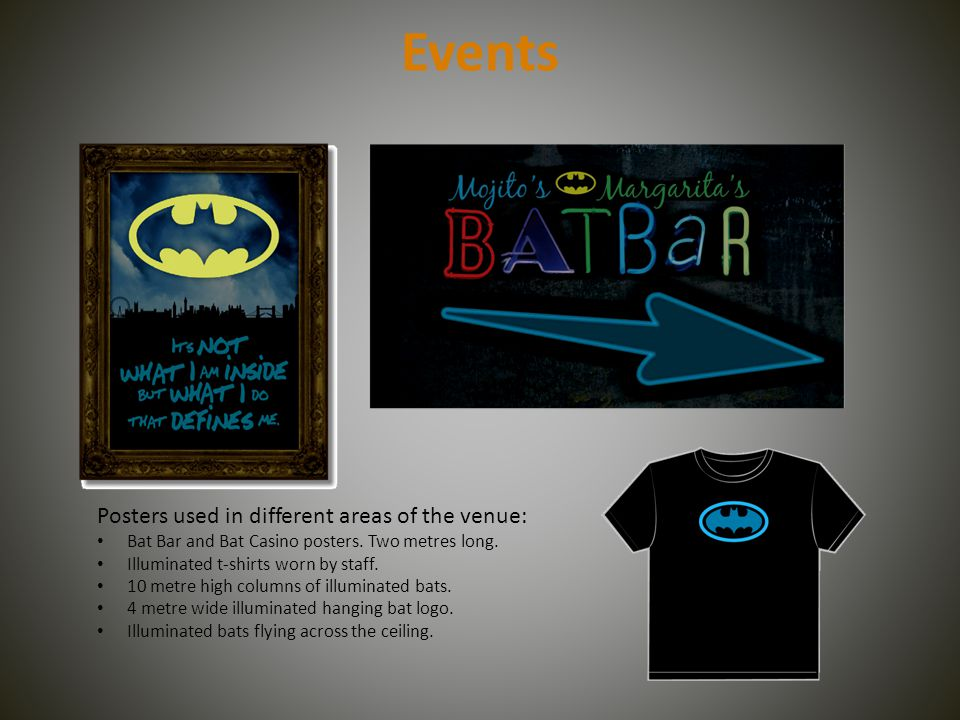 Events Posters used in different areas of the venue: Bat Bar and Bat Casino posters.