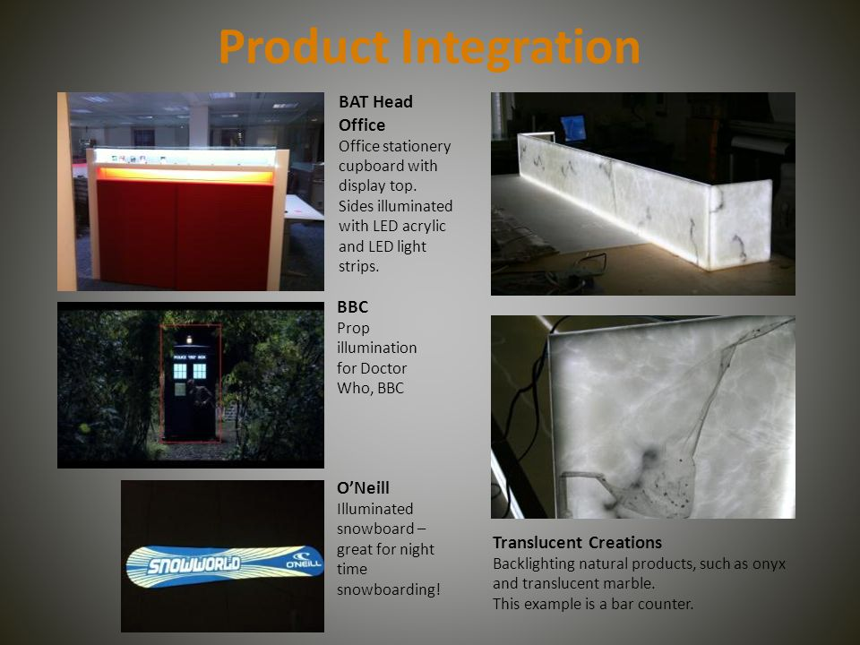 Product Integration ONeill Illuminated snowboard – great for night time snowboarding.