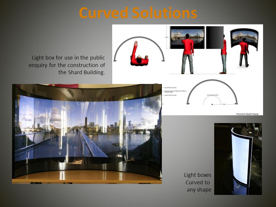 Curved Solutions Light box for use in the public enquiry for the construction of the Shard Building.