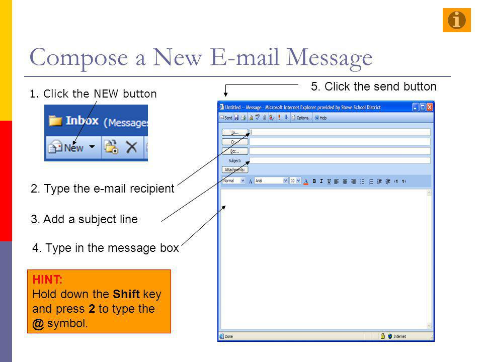Compose a New E-mail Message 1. Click the NEW button 2. Type the e-mail recipient 3. Add a subject line 4. Type in the message box 5. Click the send b