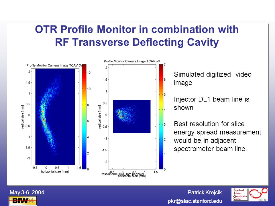 Patrick Krejcik BIW04pkr@slac.stanford.edu May 3-6, 2004 4 THz LCLS BC2 Bunch length monitor spectrum BC2 bunch length feedback requires THz CSR detector Demonstrated with CTR at SPPS Bunch profile 200 fs Bunch spectrum >> z THz spectromet er THz power detector B4 Bend Bunch Compress or Chicane CSR Vacuum port with reflecting foil