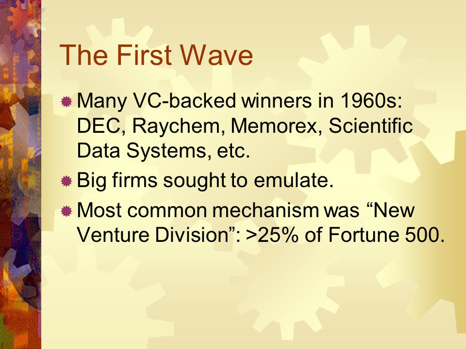 The First Wave Many VC-backed winners in 1960s: DEC, Raychem, Memorex, Scientific Data Systems, etc. Big firms sought to emulate. Most common mechanis
