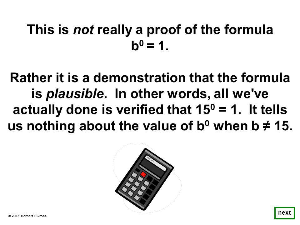 This is not really a proof of the formula b 0 = 1.