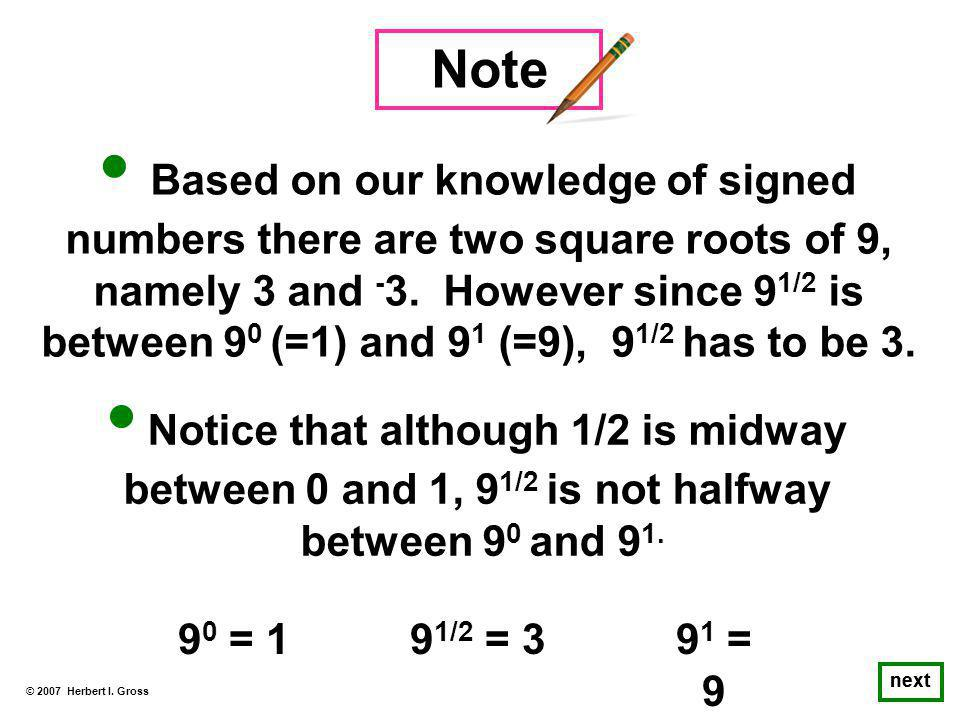 Based on our knowledge of signed numbers there are two square roots of 9, namely 3 and - 3.