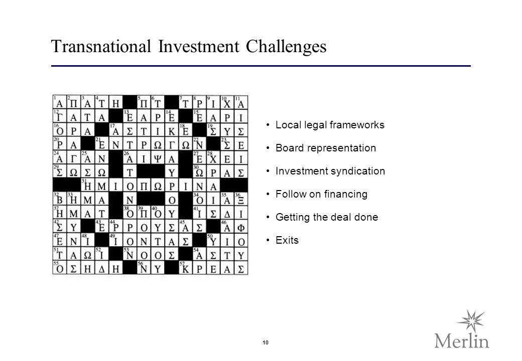 10 Transnational Investment Challenges Local legal frameworks Board representation Investment syndication Follow on financing Getting the deal done Exits