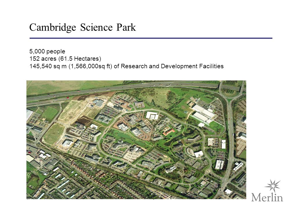5 Cambridge Science Park 5,000 people 152 acres (61.5 Hectares) 145,540 sq m (1,566,000sq ft) of Research and Development Facilities