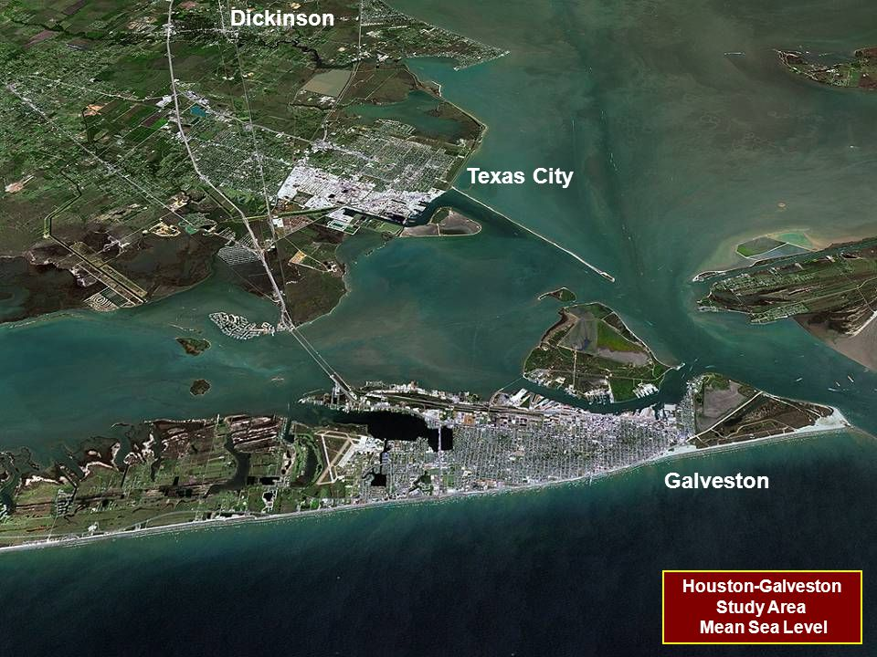 Houston-Galveston Study Area Mean Sea Level Dickinson Texas City Galveston