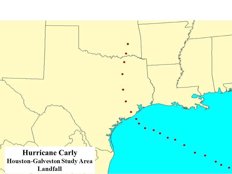 Estimated Total Wind Damage from Hurricane Carly Hurricane Carly Houston-Galveston Study Area Landfall Counties Affected: 31 Population Affected: 5,425,334 Households Affected: 1,913,906 Residences Destroyed: 119,626 Debris Generated: 124,023,000 tons Damage Amount: $73,612,335,000