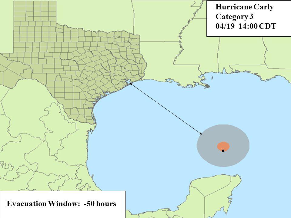 Evacuation Window: -38 hours. Hurricane Carly Category 3 04/20 08:00 CDT