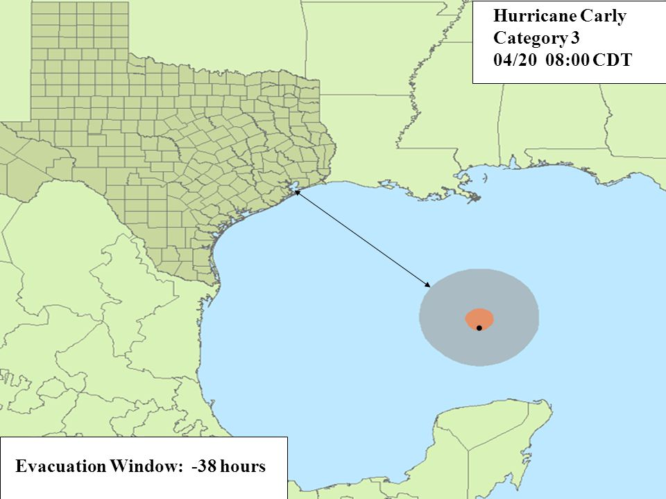 Evacuation Window: -32 hours. Hurricane Carly Category 3 04/20 14:00 CDT