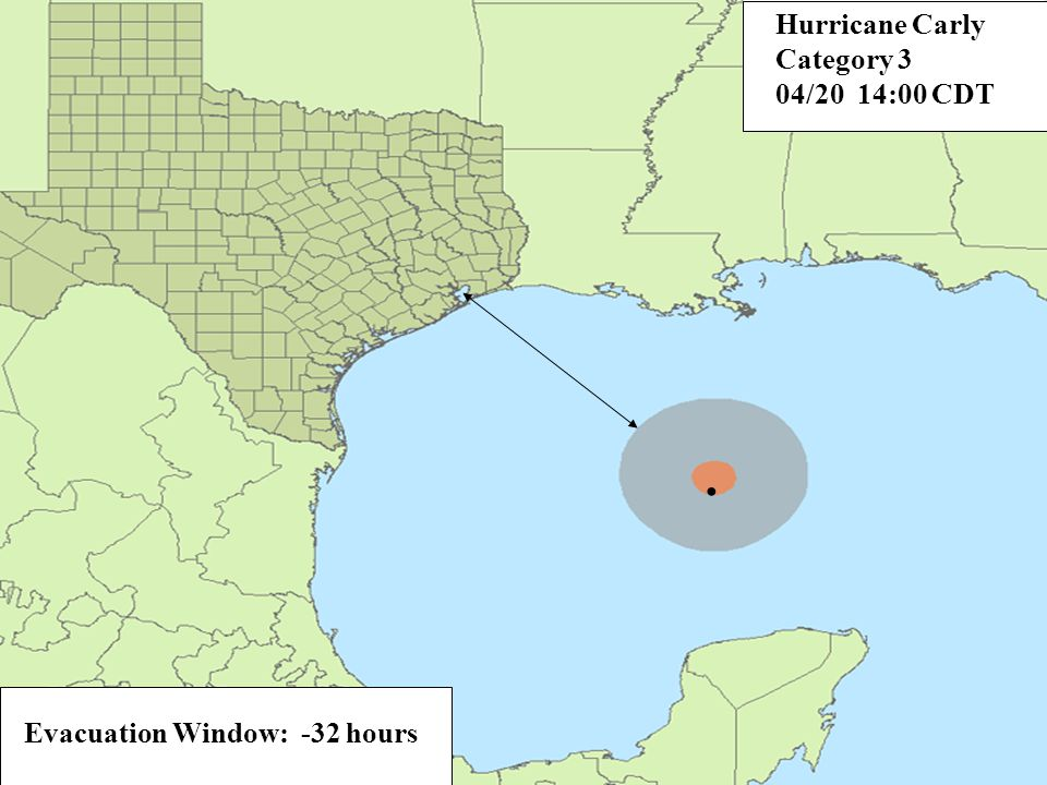 Evacuation Window: -32 hours. Hurricane Carly Category 3 04/20 14:00 CDT