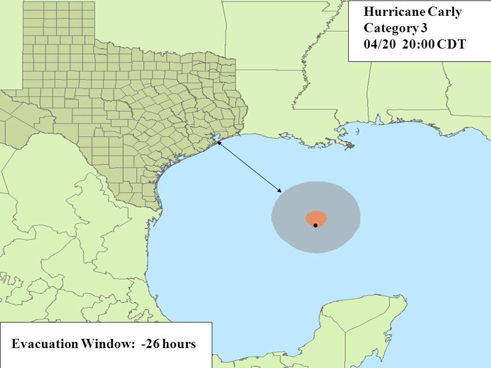 Evacuation Window: -20 hours. Hurricane Carly Category 3 04/21 02:00 CDT