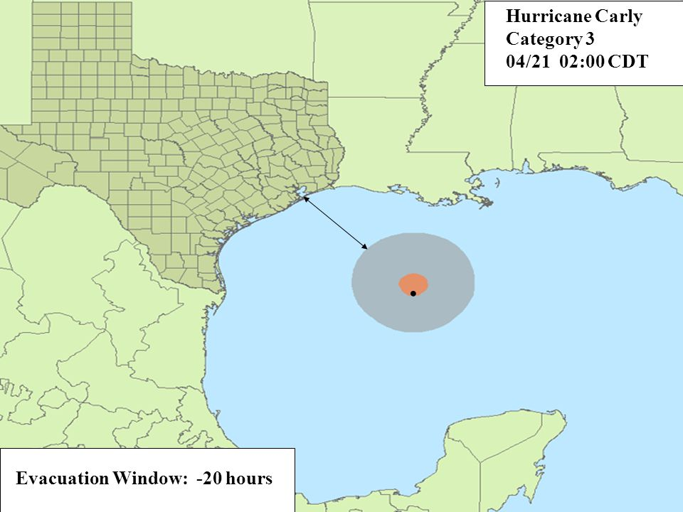 Evacuation Window: -20 hours. Hurricane Carly Category 3 04/21 02:00 CDT