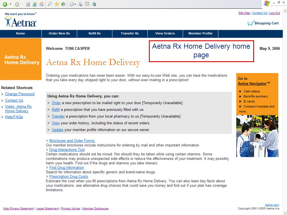 DATE 2006 Aetna Rx Home Delivery home page