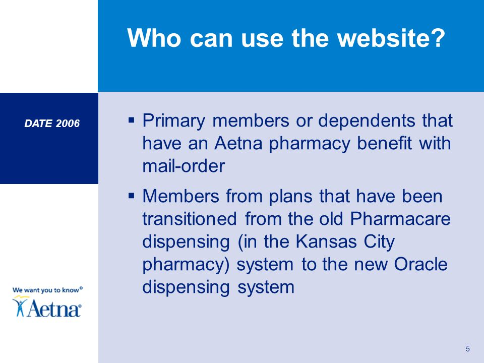 DATE 2006 5 Who can use the website? Primary members or dependents that have an Aetna pharmacy benefit with mail-order Members from plans that have be