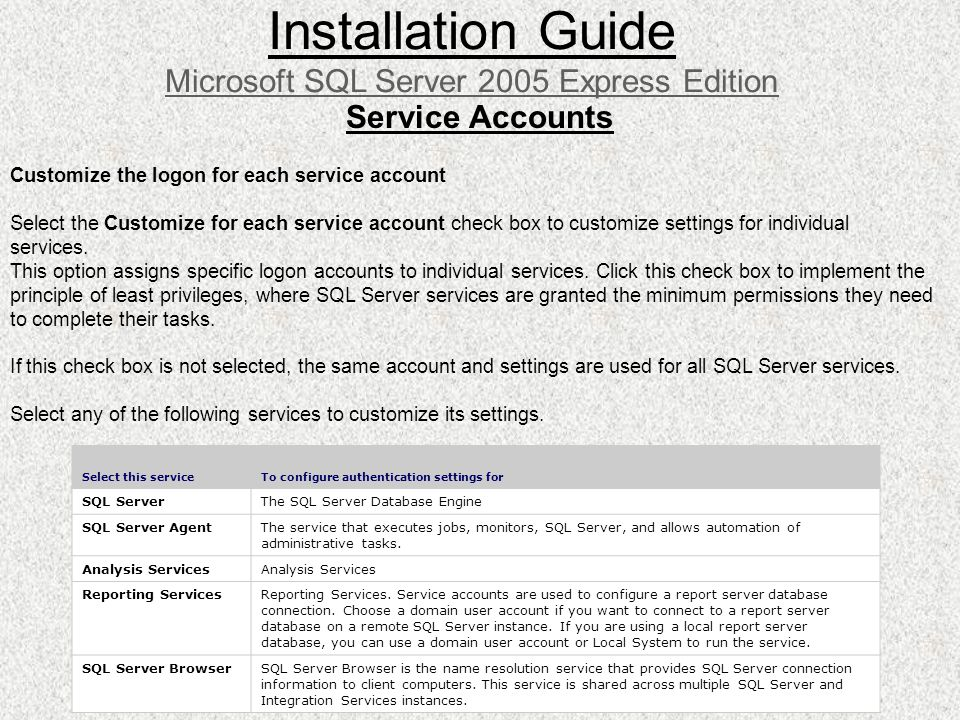 Service Accounts Installation Guide Microsoft SQL Server 2005 Express Edition Customize the logon for each service account Select the Customize for ea