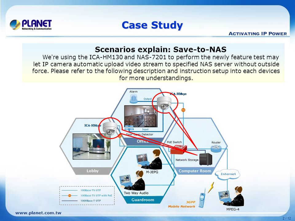 www.planet.com.tw 2 / 12 Case Study Scenarios explain: Save-to-NAS We re using the ICA-HM130 and NAS-7201 to perform the newly feature test may let IP camera automatic upload video stream to specified NAS server without outside force.