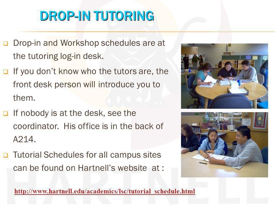 Drop-in for help with English, ESL, Spanish or math courses.