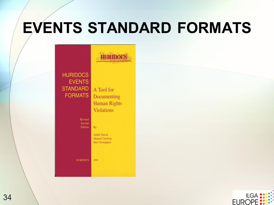 34 EVENTS STANDARD FORMATS