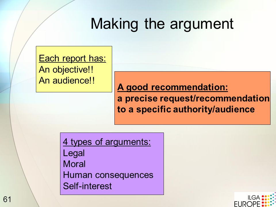 61 Making the argument A good recommendation: a precise request/recommendation to a specific authority/audience 4 types of arguments: Legal Moral Human consequences Self-interest Each report has: An objective!.