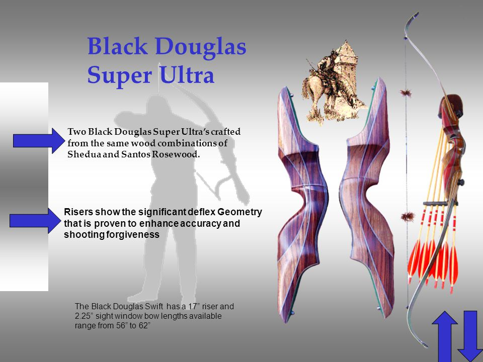 Black Douglas Super Ultra Two Black Douglas Super Ultras crafted from the same wood combinations of Shedua and Santos Rosewood. The Black Douglas Swif