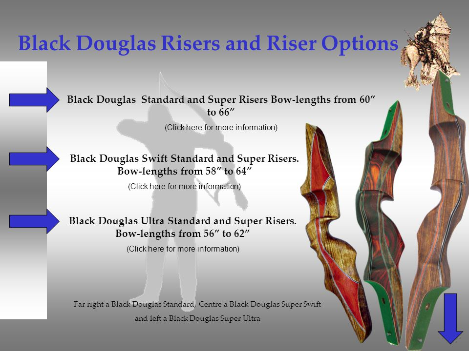 Black Douglas Risers and Riser Options Black Douglas Standard and Super Risers Bow-lengths from 60 to 66 (Click here for more information) Black Dougl
